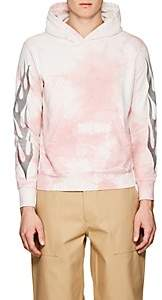 Remi Relief Men's Flame-Graphic Tie-Dyed Cotton Hoodie-Pink