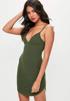 Missguided Khaki Strappy Plunge Bodycon Dress