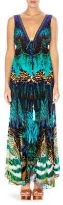 Camilla Print V-Neck Silk Drawstring Maxi Dress