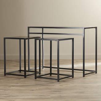 Ebern Designs Burke Glass 3 Piece Console Table Set