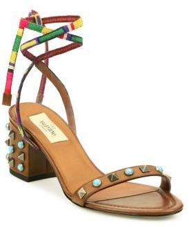 Valentino Rockstud Rolling Leather Lace-Up Block Heel Sandals $895 thestylecure.com