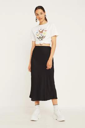 Urban Outfitters Black Satin Bias-Cut Midi Skirt