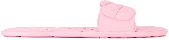 Miu Miu pink floral stamped slides