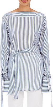 Calvin Klein Women's Keith Bis Striped Bateau-Neck Blouse $750 thestylecure.com