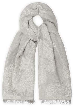 Reiss Our last order date for Christmas has now passed LILY FLORAL JACQUARD SCARF Grey