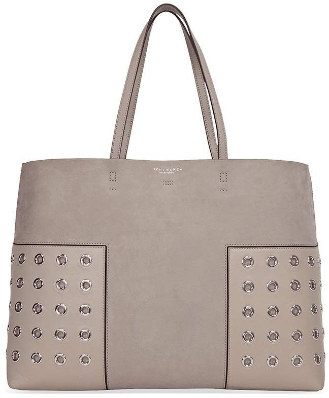 Tory Burch Block-T Grommet Tote - French Gray - ONE COLOR - STYLE
