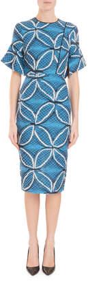 Roland Mouret Fluted Elbow-Sleeve Geometric Floral-Jacquard Midi Dress