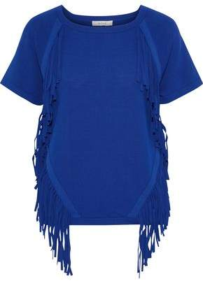 Milly Fringe-trimmed Stretch-knit T-shirt