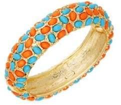 Kenneth Jay Lane Turquoise & Coral Hinged Bangle Bracelet
