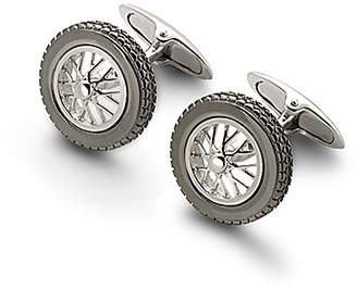 Aspinal of London Sterling Silver Classic Spoked Wheel Cufflinks