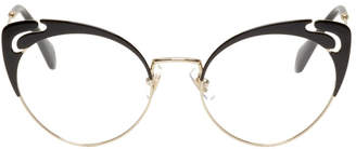 Miu Miu Black and Gold Yin Yang Cat Eye Glasses