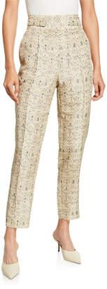 SIR the Label Siena Paneled Raw-Silk Ankle Pants