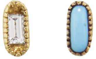 Mociun Mismatched Oblong Diamond Turquoise Stud Earrings