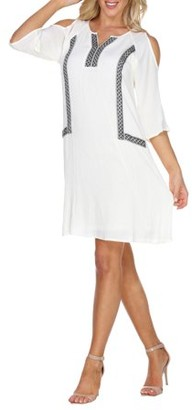 White Mark Women's Embroidered Shoulder Cut Out Dress