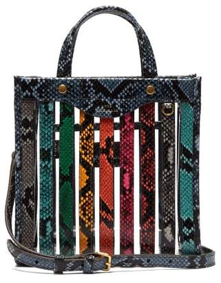 Anya Hindmarch Small Snake Effect Leather And Pvc Tote - Womens - Multi