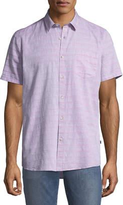 Civil Society Men's Short-Sleeve Woven Dobby Stripe Shirt