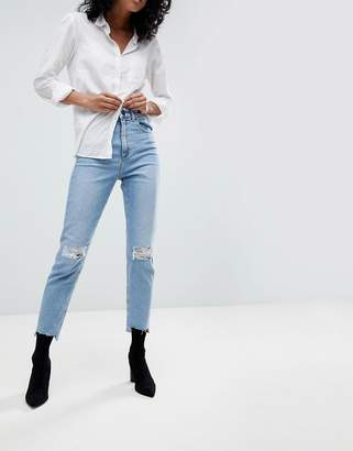 Asos DESIGN Farleigh high waist slim mom jeans in light vintage wash with busted knee and rip & repair detail