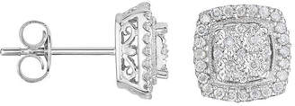 JCPenney FINE JEWELRY TruMiracle 1/4 CT. T.W. Diamond Square Sterling Silver Earrings