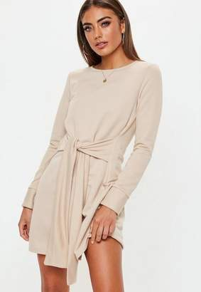 Missguided Sand Tie Waist Sweater Dress