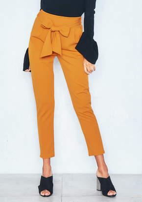 8b82bbfba00 Missy Empire Missyempire Rachel Mustard Pleated Tie Waist Cropped Trousers