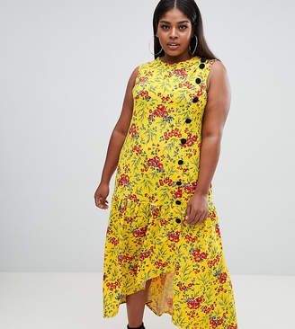 Asos DESIGN Curve maxi tea dress with dropped hem and contrast buttons in floral print