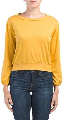 Juniors Peasant Sleeve Crew Neck Top