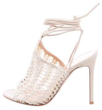 Gianvito Rossi Lace-Up Crochet Peep-Toe Pumps