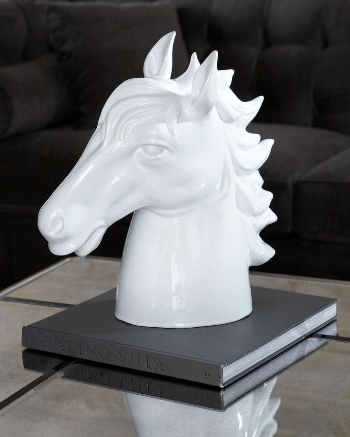 Horchow White Ceramic Horse Sculpture