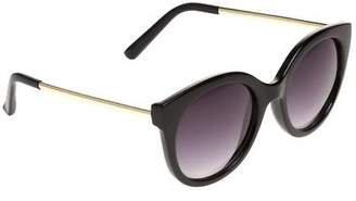 Jeepers Peepers New Womens Black Ladies Cat Eye Metal/Plastic Sunglasses