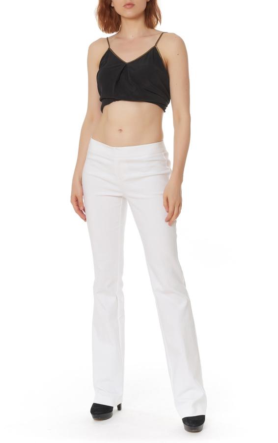 Ecru Slim Bootcut Trousers