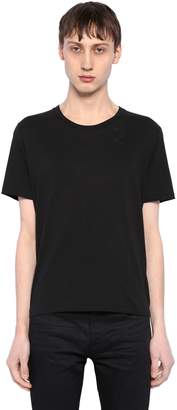 Saint Laurent Embroidered Detail Cotton Jersey T-Shirt
