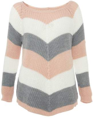 Quiz Pink Cream and Grey Stripe Knitted Jumper
