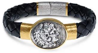 The Great Jorge Adeler Men's Ancient Alexander Coin Braided Leather Bracelet