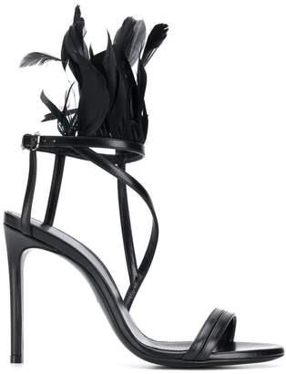 Lanvin feather embellished sandals