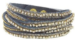 Presh Triple Crystal and Gold Bead Wrap - Midnight Shimmer
