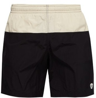 Alexander McQueen Colour Block Skull Embroidered Swim Shorts - Mens - Black White