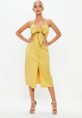 Missguided Mustard Tie Front Button Down Strappy Midi Dress