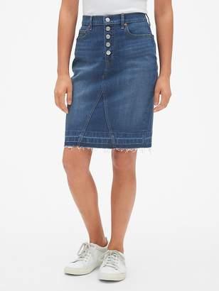 High Rise Button-Fly Denim Pencil Skirt with Raw Hem