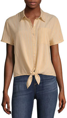 Arizona Short Sleeve Collar Neck Woven Blouse-Juniors