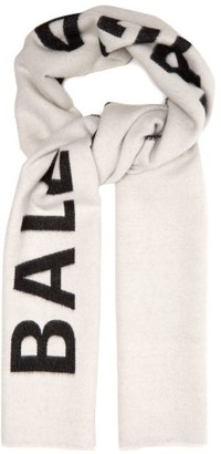 Balenciaga Logo Intarsia Reversible Wool Scarf - Womens - White