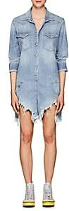 R 13 Women's Cowboy Shredded Denim Romper - Lt. Blue