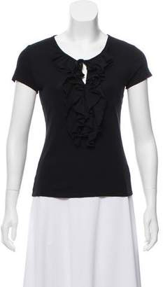 Magaschoni Ruffle-Accented Short Sleeve Top