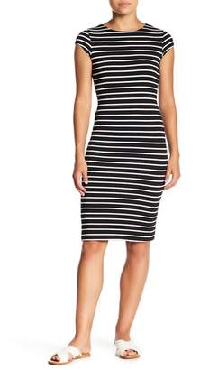 Velvet Torch Cap Sleeve Striped T-Shirt Dress