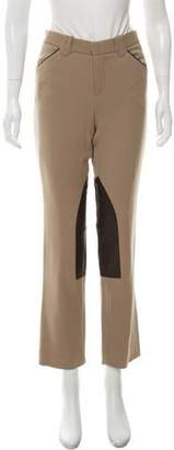 Ralph Lauren Wool & Leather Mid-Rise Straight-Leg Pants
