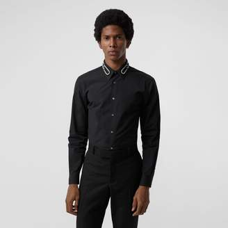 Burberry Slim Fit Bullion Link Cotton Poplin Dress Shirt