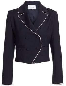 Frame Women's Piped Cropped Blazer - Navy - Size 2