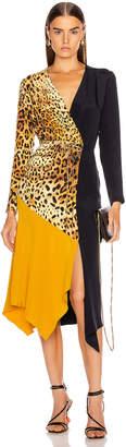 Cushnie Color Block Long Sleeve Dress in Tan Leopard, Navy & Antique Gold | FWRD
