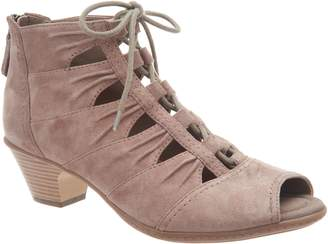 Earth Suede Lace-up Peep Toe Sandals - Aurora