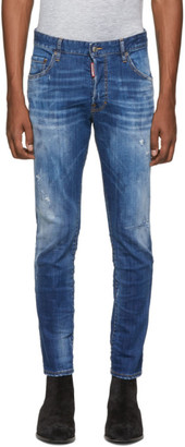 DSQUARED2 Blue Distressed Skater Jeans