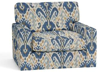 Pottery Barn Turner Square Arm Upholstered Swivel Armchair - Print and Pattern